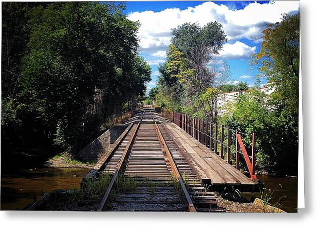 Pine River Railroad Bridge Greeting Card