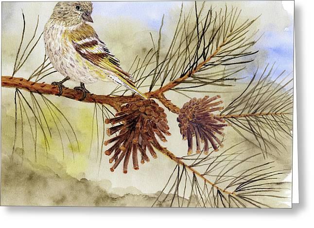 Pine Siskin Among The Pinecones Greeting Card