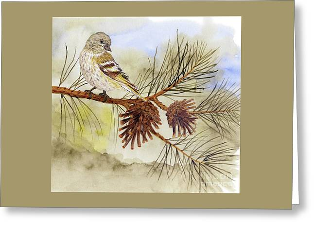 Greeting Card featuring the painting Pine Siskin Among The Pinecones by Thom Glace