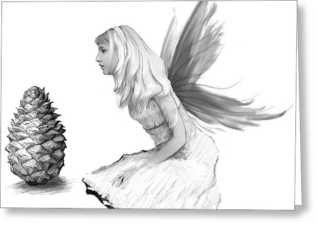 Pine Tree Fairy With Pine Cone B And W Greeting Card