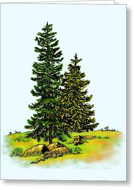 Pine Tree Nature Watercolor Ink Image 2b        Greeting Card