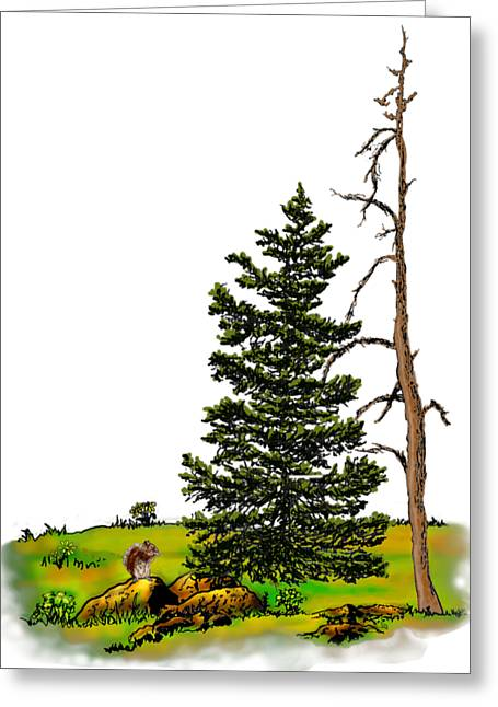 Pine Tree Nature Watercolor Ink Image 3         Greeting Card