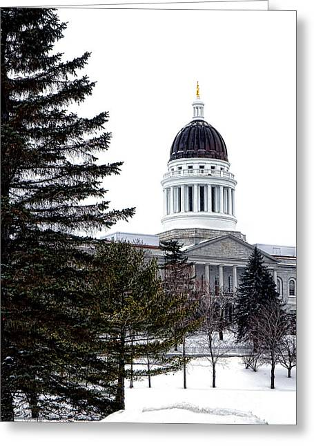 Pine Tree State Capitol In Winter Greeting Card