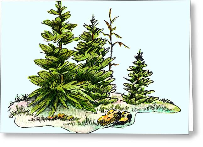 Pine Tree Watercolor Ink Image I         Greeting Card