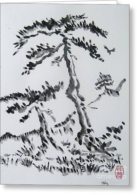 Pine Trees On Tokaido Road Greeting Card by Roberto Prusso