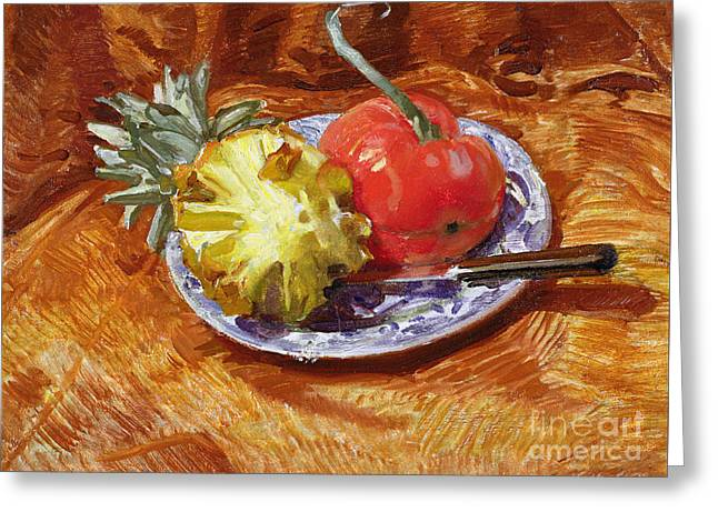 Pineapple And Tomato Greeting Card