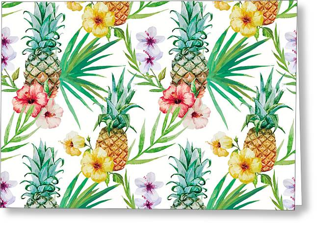 Pineapple And Tropical Flowers Greeting Card by Vitor Costa