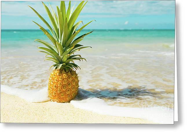 Pineapple Beach Greeting Card by Sharon Mau