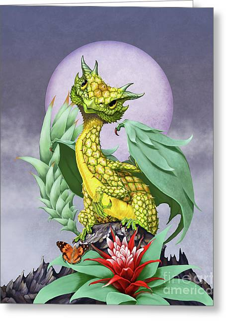 Pineapple Dragon Greeting Card by Stanley Morrison