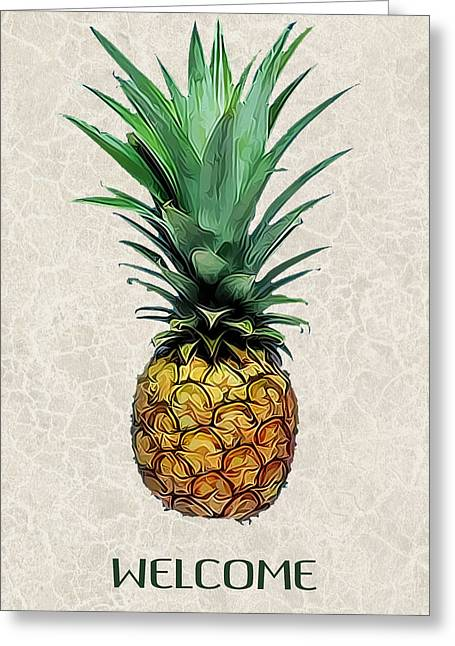 Pineapple Express On Mottled Parchment Welcome Greeting Card