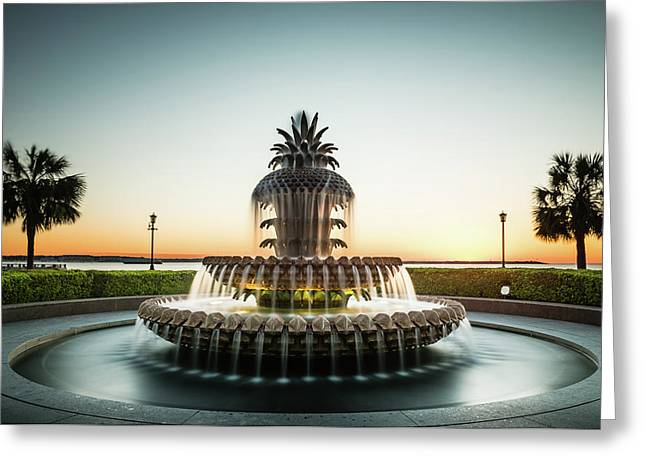 Pineapple Fountain, Charleston Greeting Card by Ivo Kerssemakers