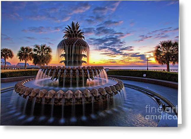 The Pineapple Fountain At Sunrise In Charleston, South Carolina, Usa Greeting Card