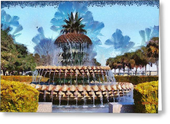 Pineapple Fountain Greeting Card by Lynne Jenkins