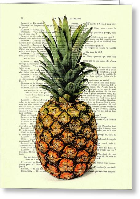 Pineapple In Color Illustration Greeting Card by Madame Memento