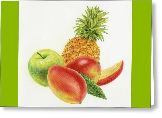 Pineapple, Mango And Apple Greeting Card
