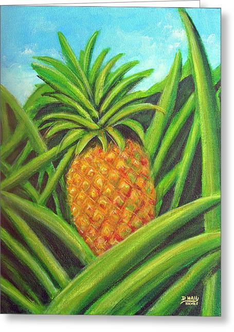Pineapple Painting #332 Greeting Card by Donald k Hall