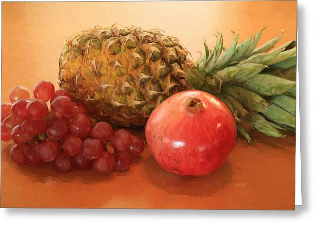 Pineapple Pomegranate Grapes Greeting Card
