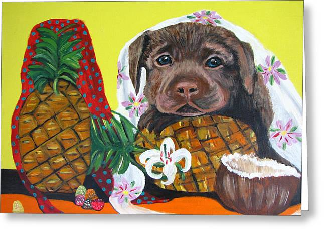 Pineapple Puppy Greeting Card