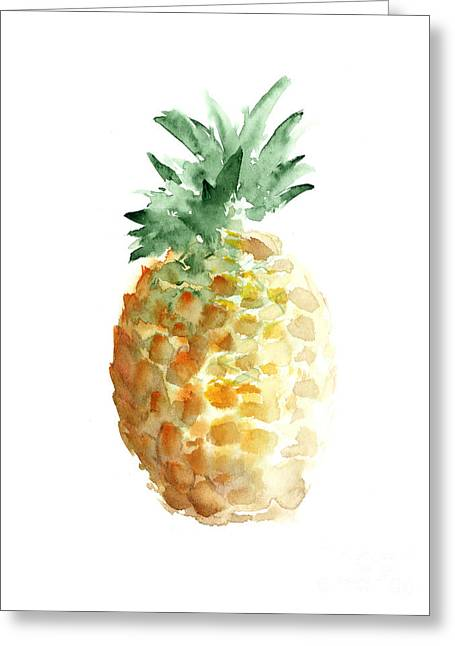 Pineapple Watercolor Minimalist Painting Greeting Card by Joanna Szmerdt