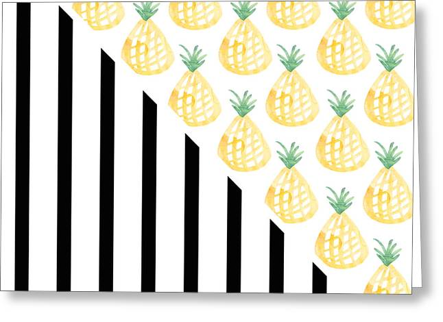 Pineapples And Stripes Greeting Card by Linda Woods