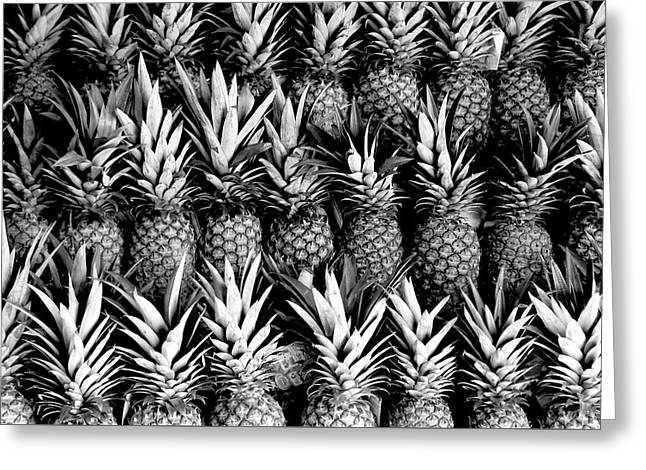 Pineapples In B/w Greeting Card