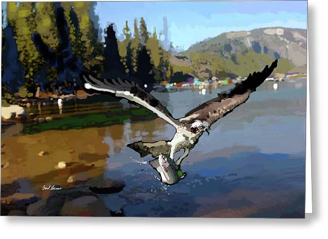 Pinecrest With Osprey And Trout Greeting Card by Brad Burns