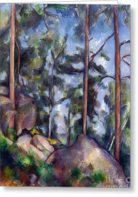Pines And Rocks Greeting Card by Cezanne