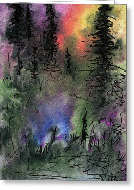Pines In Misty Light Greeting Card