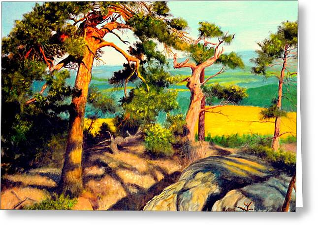 Pines On The Rocks Greeting Card by Henryk Gorecki