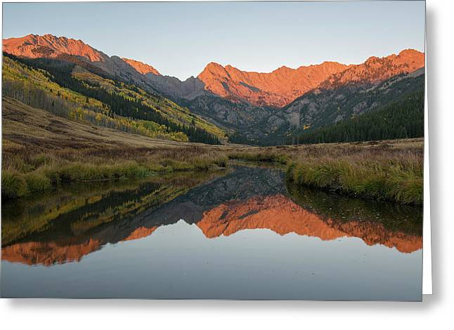 Greeting Card featuring the photograph Piney River Autumn Sunrise by Aaron Spong