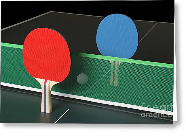 Ping Pong Paddles On Table, Standing Upright Greeting Card