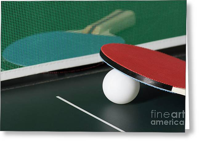 Ping Pong Paddles On Table With Net Greeting Card