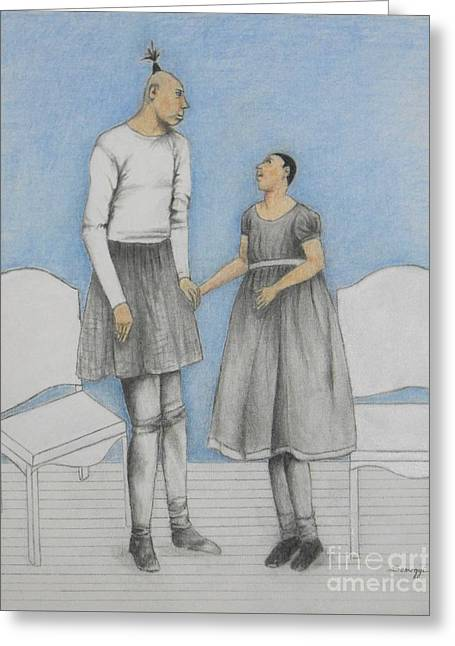 Pinhead Friends -- Portrait Of 2 Developmentally Disabled Men Greeting Card