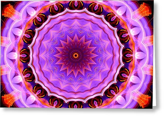 Pink 16-petals Kaleidoscope Greeting Card