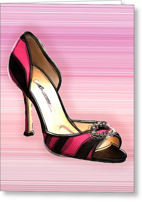 Pink And Black Stripe Shoe Greeting Card by Elaine Plesser