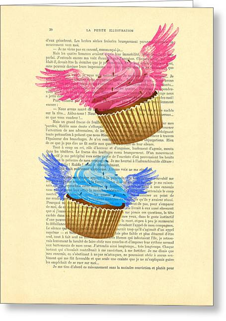 Pink And Blue Cupcakes Vintage Dictionary Art Greeting Card by Madame Memento