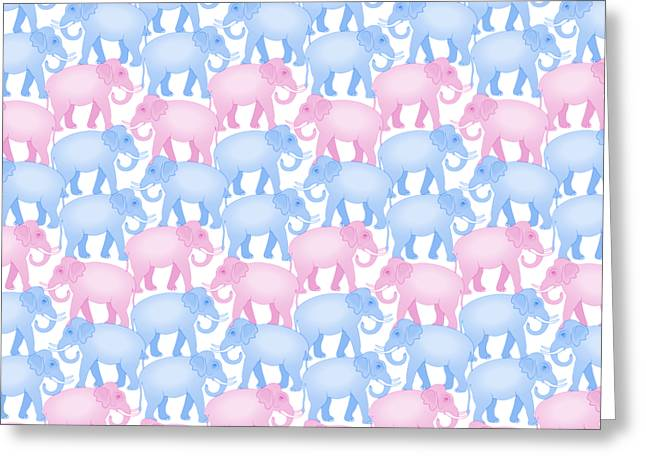 Pink And Blue Elephant Pattern Greeting Card by Antique Images