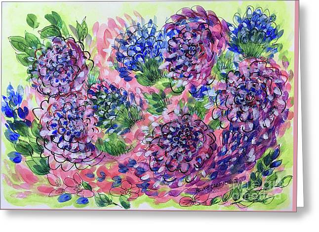 Pink And Blue Flower Flurry Greeting Card