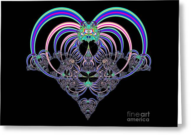 Pink And Blue Heart Fractal 82 Greeting Card