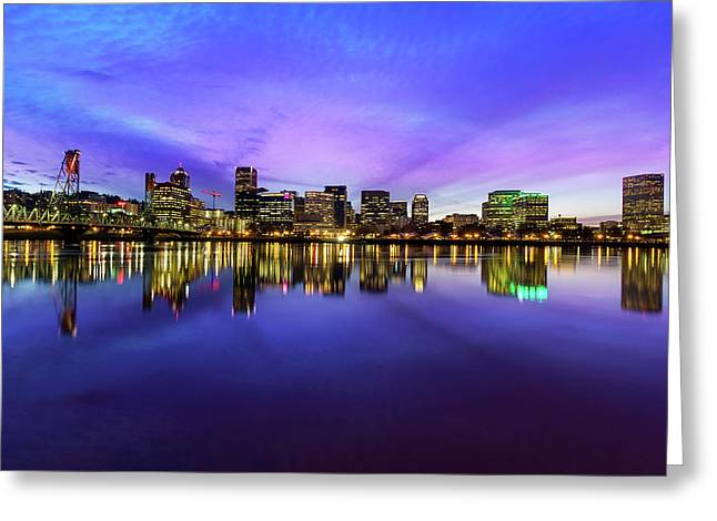Pink And Blue Hue Evening Sky Over Portland Oregon Greeting Card by David Gn