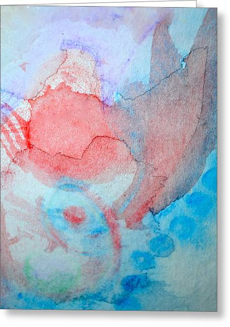 Pink And Blue Greeting Card by Paula Deutz