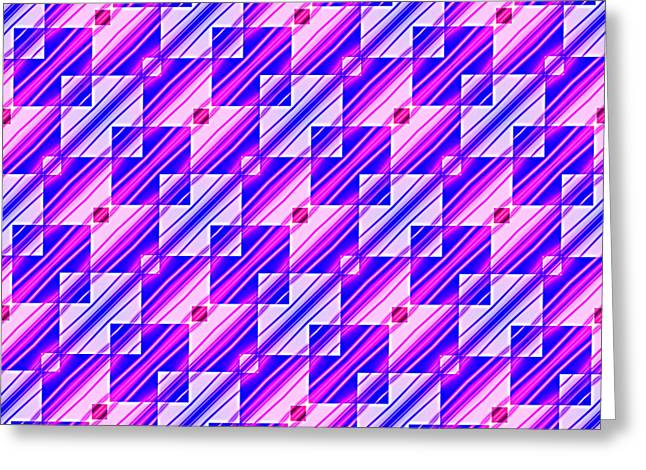 Pink And Blue Squares And Stripes Greeting Card