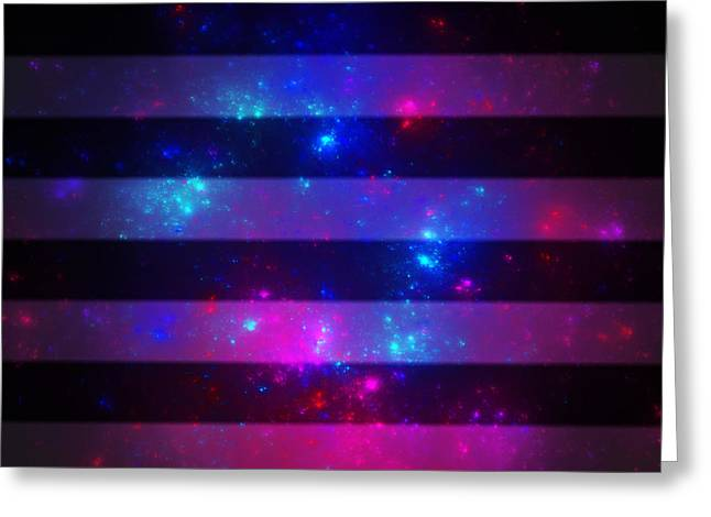 Pink And Blue Striped Galaxy Greeting Card