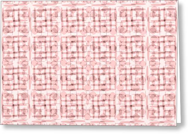 Pink And Brown Geometric Shapes In Blocked Pattern Greeting Card by Gina Lee Manley