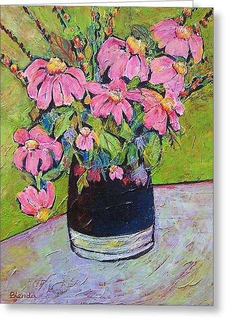 Pitcher Paintings Greeting Cards - Pink and Green Greeting Card by Blenda Studio