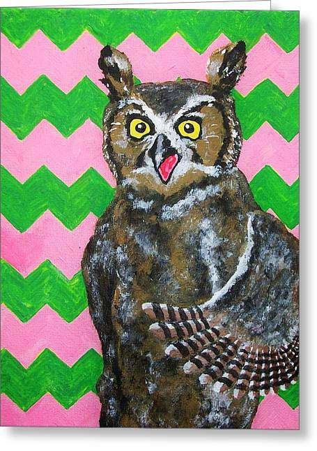Pink And Green Chevron Owl Greeting Card