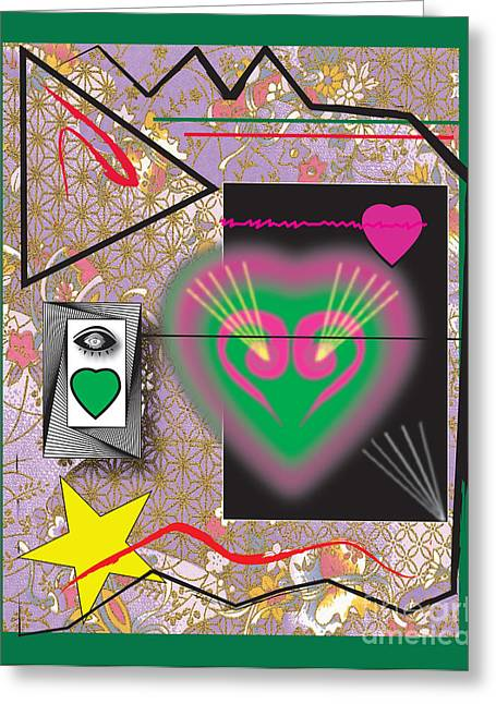 Greeting Card featuring the digital art Pink And Green Heart Design by Christine Perry