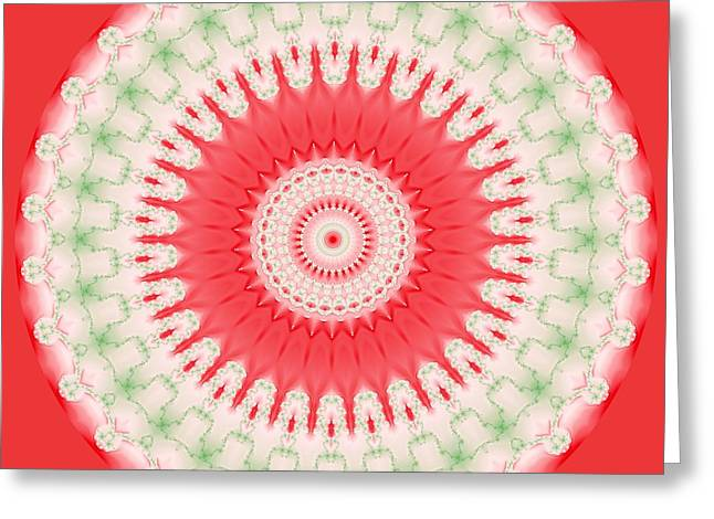 Pink And Green Mandala Fractal 001 Greeting Card