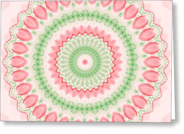 Pink And Green Mandala Fractal 003 Greeting Card