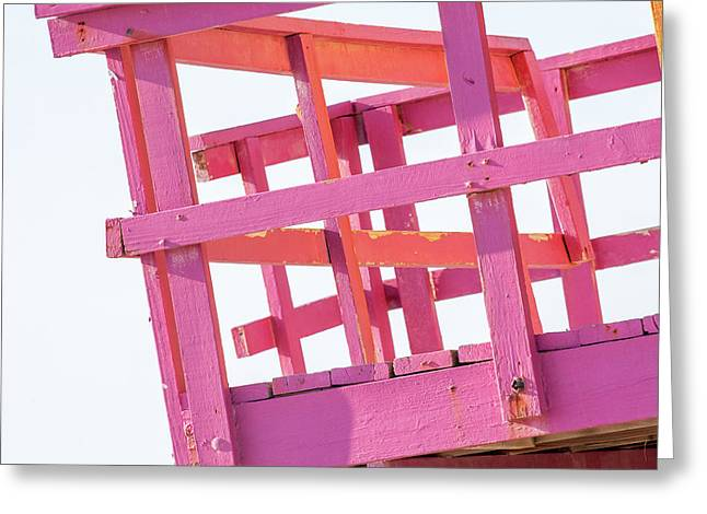 Pink And Orange Lifeguard Tower Greeting Card